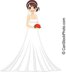 mariée, femme, caractère, heureux