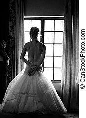 mariée, fenêtre