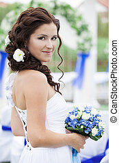 mariée, fleur, jeune, bouquet., portrait