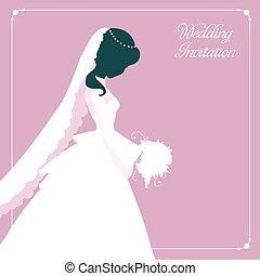 mariée, girl, mode, silhouette