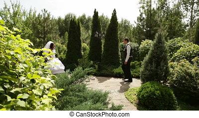 mariée, hâte, palefrenier, réunion