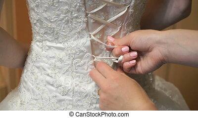 mariée, habillé, mariage, haut, obtenir