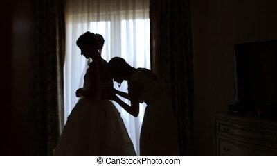 mariée, habillé, mariage, obtenir