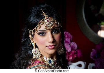 mariée, indien, magnifique