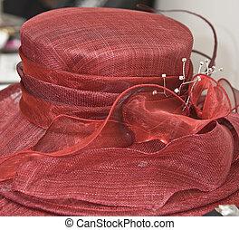 mariée, mère, haut, mariage, fin, chapeau