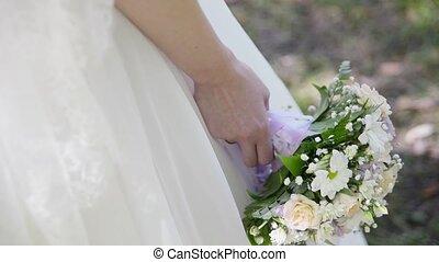 mariée, mains, bouquet, mariage, beau