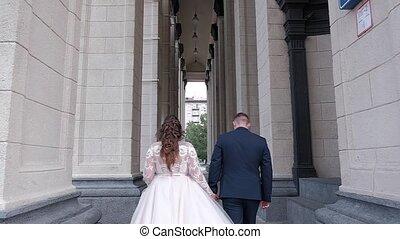 mariée, marche, palefrenier, architecture