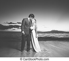 mariée marié, baisers, plage