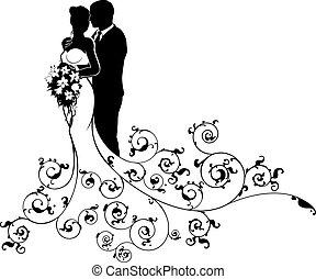 mariée marié, couple, mariage, silhouette, résumé