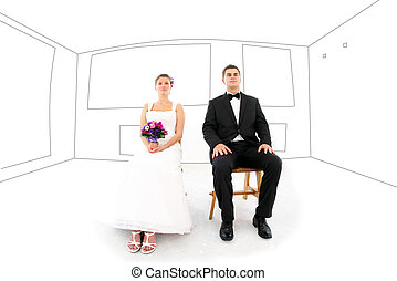mariée marié, dans, leur, nouvelle maison