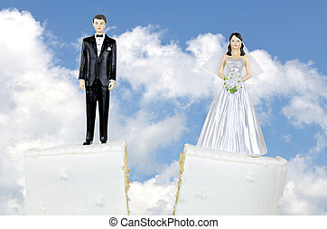 mariée marié, divorce, gâteau