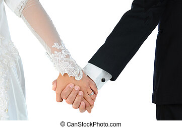 mariée marié, tenant mains