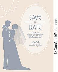 mariée, mariage, palefrenier, carte, invitation