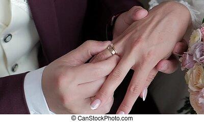 mariée, met, palefrenier, anneau