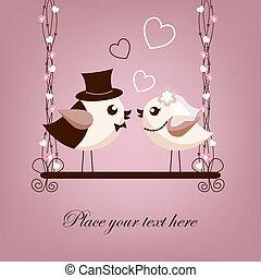 mariée, oiseaux, palefrenier, deux