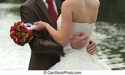 mariée, palefrenier, étang