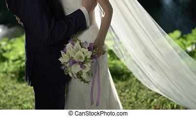 mariée, palefrenier, étreindre