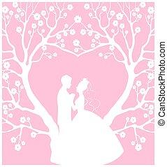 mariée, palefrenier, cardwith, mariage