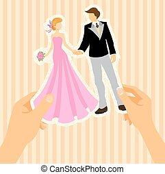 mariée, palefrenier, carte, mariage