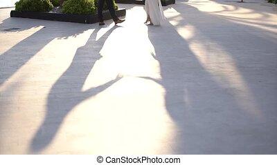 mariée, palefrenier, danse, route, ombres