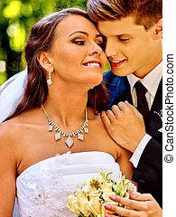 mariée, palefrenier, embrasser