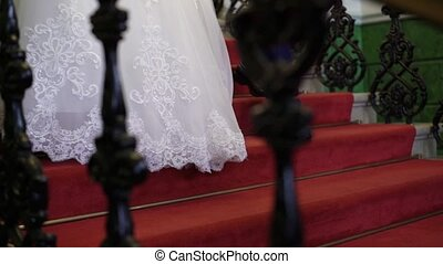 mariée, palefrenier, escalier