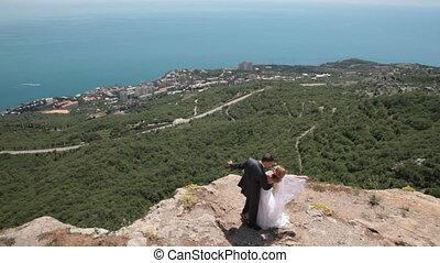 mariée, palefrenier, falaise