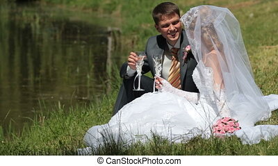 mariée, palefrenier, lac