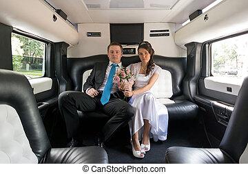 mariée, palefrenier, limousine
