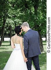 mariée, palefrenier, parc, promenade