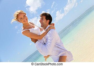 mariée, palefrenier, plage, rire, sablonneux