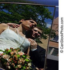 mariée, palefrenier, reflet