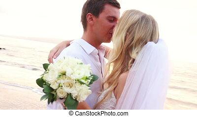 mariée, palefrenier, romantique, heureux