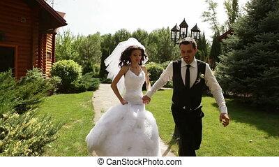 mariée, palefrenier, tenant mains