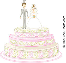 mariée, palefrenier, vacances, tarte