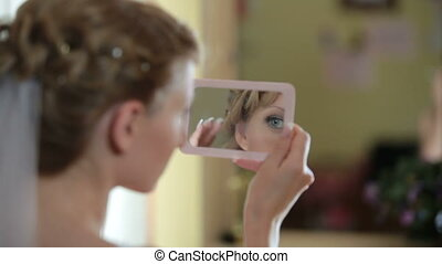 mariée, regard, miroir