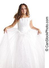 mariée, robe blanche, bouclé