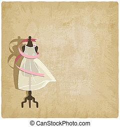 mariée, robe, papier, vieux, fond