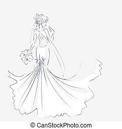 mariée, robede mariée, élégant