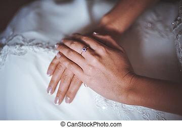 mariée, sections ont traversé, mains