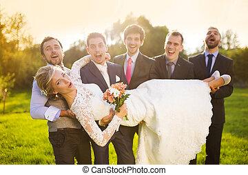 mariée, sien, amis, tenue, palefrenier