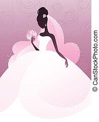 mariée, silhouette, jeune