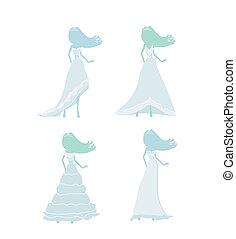 mariée, silhouettes, ensemble