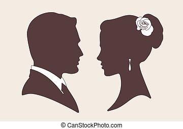 mariée, silhouettes, vecteur, palefrenier
