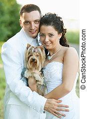 mariée, similing, palefrenier, chien