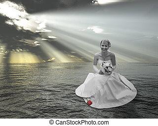mariée, sur, eau, collage