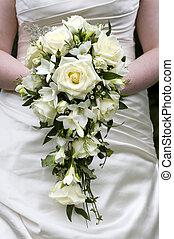 mariée, tenue, a, weddingbouquet