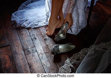 mariée, usures, chaussures