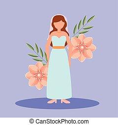 mariée, vecteur, conception, avatar, robede mariée