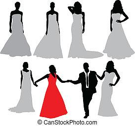 mariée, vecteur, silhouette, collection.